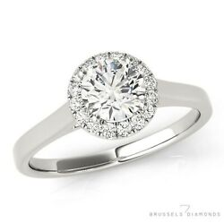0.85 Ct H/si2 Natural Diamond Halo Engagement Ring Round Cut 14k White Gold