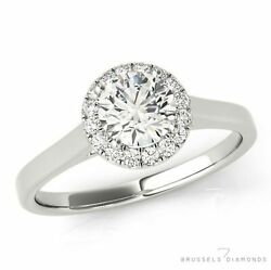 1.11 Ct D/si2 Natural Diamond Halo Engagement Ring Round Cut 14k White Gold
