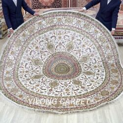 Yilong 8and039x8and039 Beige Round Hand Knotted Silk Carpet Villa Handwoven Area Rug 283c