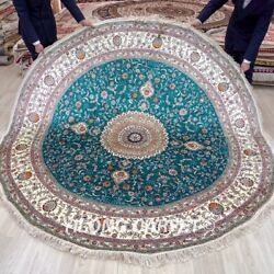 Yilong 8and039x8and039 Circle Hand Knotted Silk Carpets Green Round Handmade Area Rug 285c