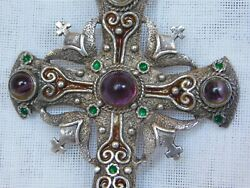 Antique Florentine Style Sterling Silver Cross And Twisted Rope Chain