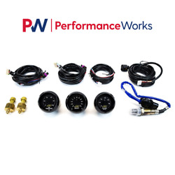 Aem Uego Wideband A / F Ratio And Turbo Boost And Oil Pressure 3 Gauges Combo Set