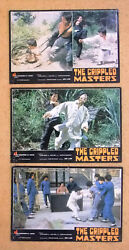 Set Of 3 The Crippled Masters Jackie Conn Kung Fu Chinese Org. Lobby Card 70s
