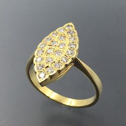 14k Yellow Gold 0.70 Ctw Diamond Marquise Shaped Top Evil Eye Ring 7.25 1978