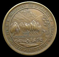 France 1840 Napoleon's Tomb At St Helena 41mm Bronze Medal - By Bovy