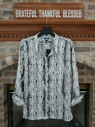 Chaps By Sz. 3x No-iron Charcoal/pearl Long Sleeve Shirt Nwt