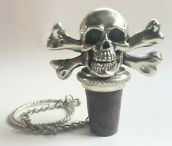 H.m. Pewter Skull Crossbones Pirate Wine Bottle Stopper W/ Ring And Chain 2005