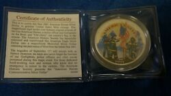 Colorized 2001 American Silver Eagle Dollar 1 Coin 9/11 America Unites Heroes