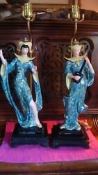 1950's Mcm Hollywood Chalkware Green Siam Dancer Musician Vintage Lamps