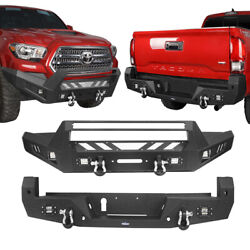 Hooke Road Front Rear Bumper With 6 Led Lights For Toyota Tacoma 16-21 Steel