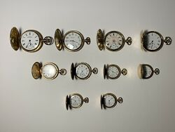 10 Gold Filled Pocket Watches, Incl. Elgin, Waltham And Illinois