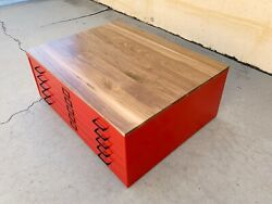 Vintage Flat File Coffee Table Refinished In Custom Colors With Walnut Top