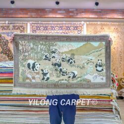 Yilong 3.5'x2' Panda Tapestry Silk Rug Home Decor Hand Knotted Carpet 075h
