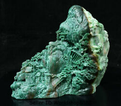 10.6 Natural Dushan Green Jade Carving Pine Tree House Mountain Water Statue