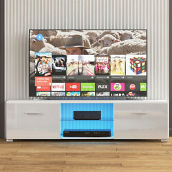 57'' Tv Stand W/ High Gloss 2 Drawer +rgb Led Shelf Console Entertainment Center