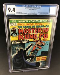 Special Marvel Edition 16 Cgc 9.4 Ow/wh 1st Midnight Shang-chi Master Of Kung Fu