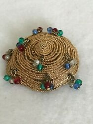 Vintage Asian Coolie Bamboo Straw Samurai Style Hat Brooch Pin Dangling Beads