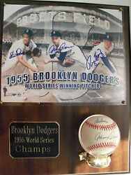 Johnny Podres, Clem Labine And Roger Craig Auto Ball And Photo 1955 World Series