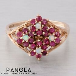 Antique Estate 9k 375 Yellow Gold Branch And Flower Opal Ruby Cluster Ring Sz.8.75