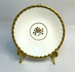 8 Minton Gold Rose Dinner Plates Swirled Edge And Gold Trim Discontinued