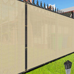 8 Ft Beige Privacy Screen Fence Windscreen Fence Mesh Shade Cover Custom Length