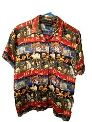 Nicole Miller Shirt 100 Silk Menand039s Button Up Shirt Sz Med Dogs Graphic Vtg