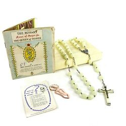 Vintage Knights Of Columbus Holy Rosary Virgin Mary Italy W/ Booklet And Marker