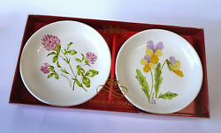 Palissy Royal Worcester Spode Set Of 2 Floral Pattern Butter Pat Plates New Ib