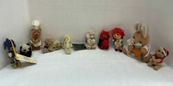 Lot Of 10 Vintage Assorted Mixed Animals And Girl Mini Stuffed Plush Toys