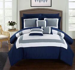 Chic Home Duke 10 Piece Comforter Set Complete Bed In A Bag Pieced Color Block P