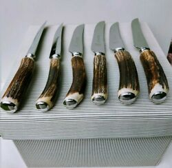 6 Finest Unused Scottish Stags Horn Steak Knives Quality 1940s