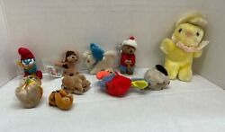 Lot Of 10 Vintage Assorted Mixed Animals And Papa Smurf Mini Stuffed Plush Toys