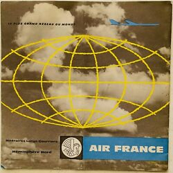 Air France Airlines - Route Map - Northern Hemisphere - Great Graphics 1959