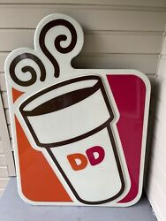 """Giant Classic Dunkin Donuts 68""""x48"""" Sign Lighted Coffee Bakery Advertising"""