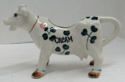 Vintage Porcelain Irish Cow Creamer With Pink Flowers