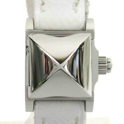 Authentic Hermes Mini Medor Watch Me2.110 Stainless Steel Ss Leather Belt Used
