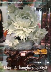 17 China Natural Jade Carved Magpie Bird Peony Flower Tree Leaf Trunk Statue