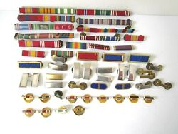 Vintage Military Ribbon Bar Pins And Lapel Buttons Mixed Lot Of 48