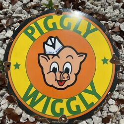 Vintage Piggly Wiggly Porcelain Metal Sign Gas Station Grocery Store Petroliana