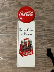 1947 Coca Cola Pilaster Sign With Button. Clean 54inx16in