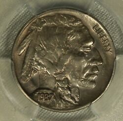 1937-d Buffalo Nickel. Pcgs Almost Uncirculated Details. 3 Leg