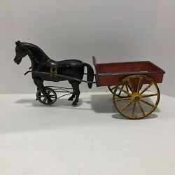 1880's Cast Iron Horse Drawn Wagon W/articulated Horse Legs Antique Toys Vintage
