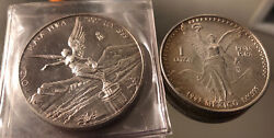 2002 And 1993 Mexico Silver Libertad Onza 1 Ounce. 999 Excellent Low Mintage