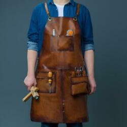 Modern Brown Leather Work, Tool, Carpenter Apron For Men, Unique Attached Bag