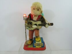 Vintage Antique Japan Tin Toy Monkey With Guitar Complete With Hat Pg76c