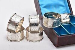Fabulous Cased Set Of Six 1878 Victorian Silver Napkin Rings By Martin And Hall