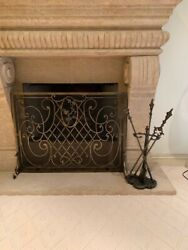 Stunning Laser Cut Aged Brass Fire Screen And Decorative Top Tool Set