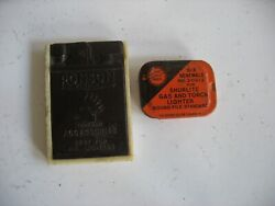 Vtg Shurlite Flints Gas And Torch Lighter Renewals Tin And Ronson Accessories Kit