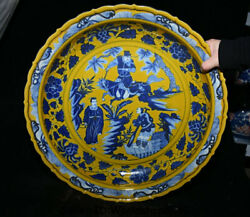 17.8 Old Yellow Blue White Porcelain Dynasty Official Ride Horse Plate Tray