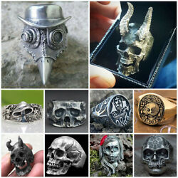 Gothic Retro Punk Stainless Steel Men Skull Ring Band Ring Jewelry Size 7-13